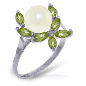 Galaxy Gold Products Jewelry - 14K. SOLID GOLD RING WITH NATURAL PERIDOTS & PEARL